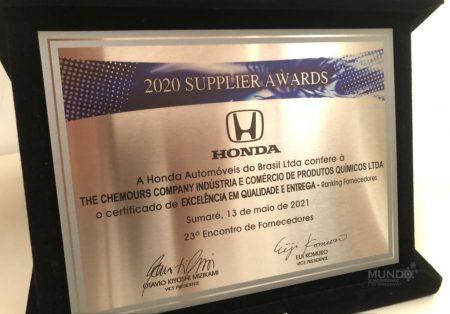 Chemours Company recebe reconhecimento da Honda Brasil