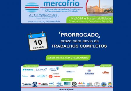 Prorrogado o prazo para envio de trabalhos para o Mercofrio 2021